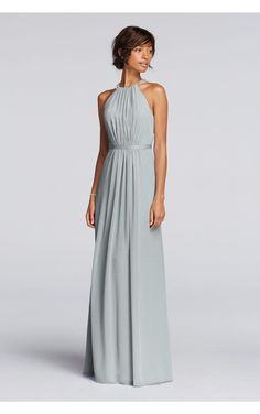 Long Chiffon Beade High Neck Sleeveless Bridesmaid Gown JP291663