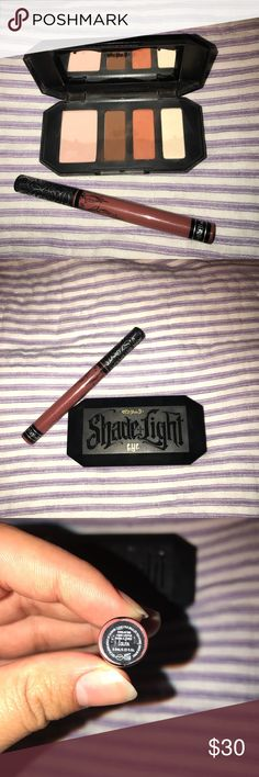 Kat Von D Eye and Lip bundle **Makeup Declutter** Matte liquid lipstick in Lolita & Shade & Light Eyeshadow pallet in Rust I used the liquid lipstick like two times but never more, it just was not my color. The eyeshadow pallet was only swatched never used on my eyes. This makeup is in great condition & deserves more love Kat Von D Makeup Eyeshadow