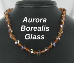 Amber Aurora Borealis Glass Necklace by vintagejewelrylane on Etsy, $21.99