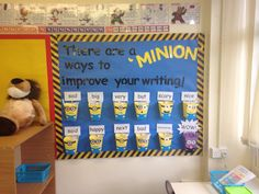 Minion synonym wall Ks2 Classroom, Classroom Libraries, Classroom Themes, Hot Air Balloon Classroom Theme, Word Walls, Year 2, Vocabulary Words, First Grade, Grammar