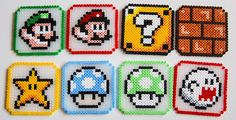 Mario Hama Bead sous-verres par CrackBrainCrafts sur Etsy Hama Beads Coasters, Diy Perler Beads, Pearler Beads, Fuse Beads, Easy Perler Bead Patterns, Perler Bead Templates, Perle Hama Star Wars, Deco Gamer, Hama Art