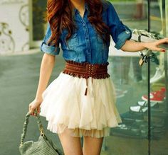 Cute girly outfit!  Jean button shirt, brown belt, and white flirty skirt.