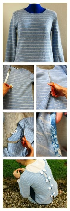 DIY : Pull marin avant - après avec nœuds dans le dos - Jersey with bow on the back