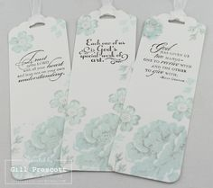 Stippled blossoms bookmarks in soft sky and smoky slate