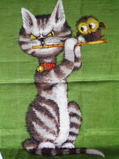 1970s Vintage Linen Tea Towel MUSICAL MATES by Ulster Cat