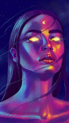 Arte Digital Fantasy, Digital Art Girl, Fantasy Art, Goddess Art, Moon Goddess, Air Goddess, Psychadelic Art, Arte Sketchbook, Moon Art