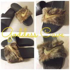Check out this item in my Etsy shop https://www.etsy.com/listing/278227350/fur-nike-slides