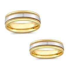 14k Two-tone Gold Men and Women Rope Detail Comfort Fit Wedding Band (Mens 12, Womens 8.5) (solid)