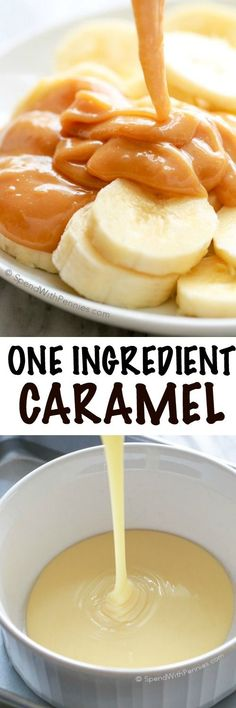 One Ingredient Caramel! This caramel recipe is not only ridiculously easy, it is perfect for dipping fruit and apples or drizzling over cakes and pies. This is the only caramel sauce you'll ever need! Sweetened condensed milk baked in the oven Caramel Recipes, Candy Recipes, Sweet Recipes, Just Desserts, Delicious Desserts, Yummy Food, Health Desserts, Dessert Sauces, Dessert Recipes