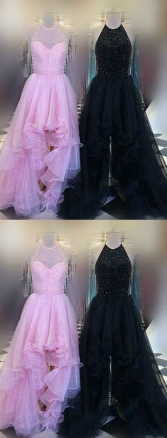 Stunning High Low Halter Beaded Long Black/Pink Tulle Prom/Graduation Dress With Ruffles#shoppingonline#graduationdress#promdress#eveningdress#tulledresses#beading#pinkpromdresses#blackpromdreses#highlowpromdresses#highloweveningdresses
