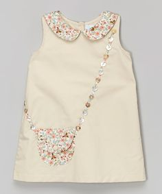 Beige Floral Purse A-Line Dress - Infant & Toddler