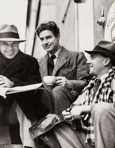 Director King Vidor, Robert Donat and Ralph Richardson on the set of The Citadel (1938)