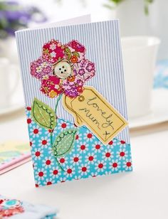 Gorgeous Stitched Flower Mother's Day Card - Free Craft Project – Papercrafting - Crafts Beautiful Magazine, thanks so for share xox Fabric Cards, Fabric Postcards, Mothers Day Crafts For Kids, Mothers Day Cards, Patchwork Cards, Tarjetas Diy, Sewing Cards, Free Motion Embroidery, Embroidery Cards