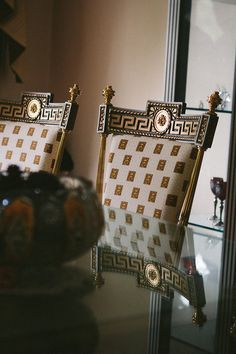 greek key by Versace. Versace Home, Versace Mansion, Versace Versace, Gianni Versace, Versace Furniture, Empire Style, Key Design, Classic Furniture, Furniture Decor