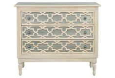 Tangier 3-Drawer Dresser; Moroccan-inspired fretwork over brushed metal, and a light finish of gray and natural tones.   Selamat Designs founded in 1988.headquartered in San Francisco. $799.00