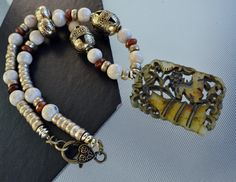 Jade Necklace jasper Necklace Gemstone Tribal Hand by LKArtChic