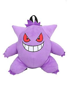 "<div>Let Gengar hide in your shadow. He'll give you exceptional stealth! Purple plush Gengar backpack from <i>Pokémon </i>with adjustable black webbing straps and a small zipper pocket on back. </div><div><ul><li style=""LIST-STYLE-POSITION: outside !important; LIST-STYLE-TYPE: disc !important"">100% polyester</li><li style=""LIST-STYLE-POSITION: outside !important; LIST-STYLE-TYPE: disc !important"">Approx. 13"" x 15""</li><li style=""LIST-STYLE-POSITION: outside !important; LIST-STYLE-T..."