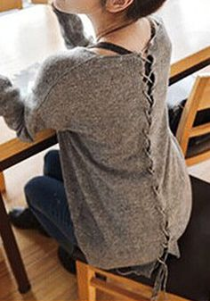 Crisscross Tie Knitted Sweater. This would be an awesome upcycle.