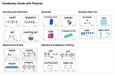 Here's a set of Kindergarten vocabulary cards with pictures. Click Math Vocabulary on the left menu to access this page.