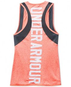 Under Armour outfits her to excel in this cool graphic-print tank top, designed with a natural feel to provide incredible all-day comfort. Under Armour Outfits, Nike Under Armour, Under Armour Tanks, Under Armour Girls, Under Armour Shoes, Workout Attire, Workout Wear, Workout Tanks, Athletic Outfits
