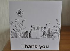 Hand drawn cat with flowers thank you/greeting card