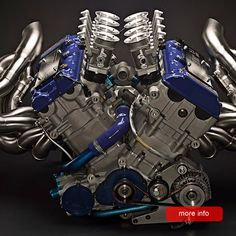 The RP-V8 Macroblock engine comprises Suzuki GSX-R Hayabusa cylinder heads, mounted to a dedicated dry-sump crankcase. A flat-plane steel billet crankshaft transmits power to the gearbox, while a gear drive rotates the Formula One-specification scavenge pumps, twin oil supply pumps and the coolant pump.