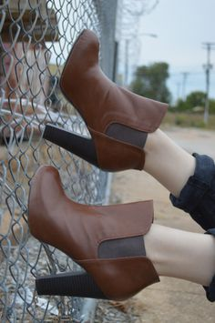 "Madden Girl Zelouss bootie (at Famous Footwear) on ""Mixing Neutrals: Brown and Black in the Same Outfit"" 