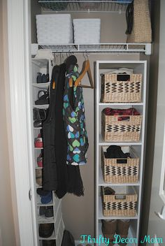 idea for foyer closet.. bins for hats and scarves. spots for shoes. purses. hangers for jackets. ugh. perfecr