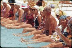 Residents of the Century Village Retirement Community Gather Around Pool for Daily Exercise Session. Old Florida, Vintage Florida, South Florida, Florida Travel, Vintage Photographs, Vintage Photos, Still Picture, Palm Beach County, National Archives