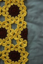 """Free Crochet Pattern: Half- Japanese Flower Motif """"Half Japanese Flower (English) Pattern and picture tutorial ~ free pattern would make a pretty table run Crochet Puff Flower, Crochet Sunflower, Crochet Flower Patterns, Crochet Flowers, Crochet Square Pattern, Crochet Squares, Crochet Motif, Crochet Stitches, Granny Squares"""