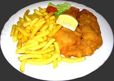The Viennese, the Wiener Schnitzel! #Schnitzel is traditionally prepared from a thinly-sliced piece of veal, which is further tenderized by pounding with meat mallet, then successively dipped into wheat flour, eggs and breadcrumbs before being fried....