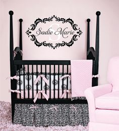 Name and Initial Vinyl Wall Decal Shabby Chic Damask Border Personalized Monogram Wall Decal Girl Baby Nursery Room Wall Art 22Hx36W FS236. $45.00, via Etsy.
