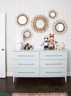 婴儿房DIY IKEA dresser hack | add brass bar pulls to IKEA dresser | modern bedroom or nursery dresser