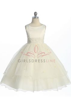 Ivory Double Layer Tulle Flower Girl Dress K198I $46.95 on www.GirlsDressLine.Com