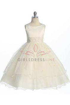 Ivory Double Layer Tulle Flower Girl Dress K198I $57.95 on www.GirlsDressLine.Com