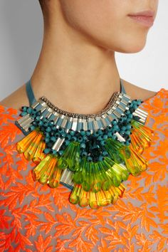 Matthew Williamson Opulent Beaded Bib Necklace in Green! We LOVE this!