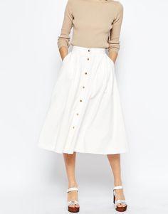 ASOS | ASOS Denim High Waisted Button Through Midi Skirt in White at ASOS