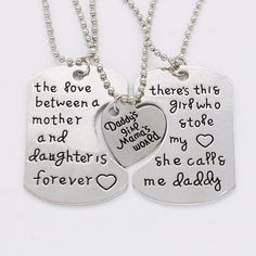 Joie Father Mother Daughter Necklace Set, Gifts for Parents Parent Gifts, Fathers Day Gifts, Gifts For Mom, Diy Gifts, Moon Necklace, Necklace Set, Mother Daughter Jewelry, Father Daughter, Dainty Diamond Necklace