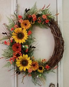 MARKED DOWN Fall Wreath Fall Door Wreath by SouthTXCreations