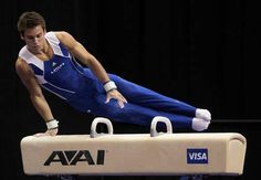 Sam Mikulak performs on the pommel horse, his specialty. On day 1 of the Olympic trials he sprained his ankle, only allowing him to compete on the ph on day 2.  He still made a spot on the team with his fearless performances on Day 1.