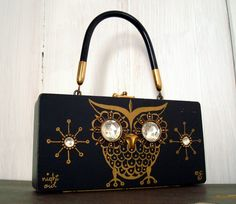 Vintage Box Purse with Jewels - Enid Collins Wooden Purse - Night Owl