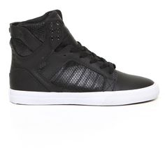Supra Skytop Leather Sneaker (105 CAD) ❤ liked on Polyvore featuring shoes, sneakers, sapatos, supra, zapatos, black, black shoes, leather trainers, black trainers and black sneakers