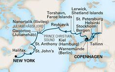 Eurodam - 30-NIGHT BALTIC & VIKING PASSAGE itinerary map