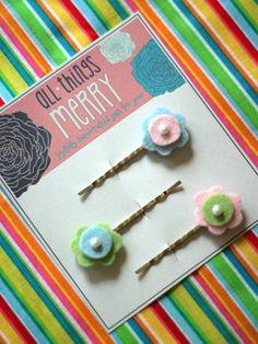 Felt flower bobby pins Bobby pins in pastel by AllThingsMerry, $4.95