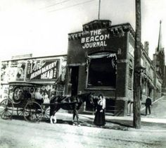 A photograph of the exterior of the Akron Beacon Journal Building on S. Main and Bowery Streets, Akron, Ohio. The building was destroyed by a fire in Cleveland Ohio, Cincinnati, Cleveland Rocks, Beautiful Park, Beautiful Places, Portage Lakes, Cuyahoga Falls, Canton Ohio, The Buckeye State