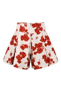 ROMWE | ROMWE Floral Print High Waist Pleated Shorts, The Latest Street Fashion