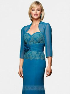 Casual A-line Sweetheart Floor-length Chiffon Lace Blue Mother of the Bride Dresses With A Jacket