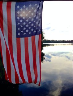 American Flag and the lake. perfect