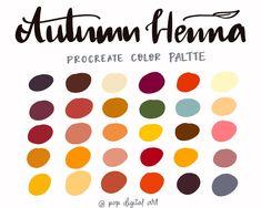 Autumn henna Procreate Palette Instant Download Procreate   Etsy Color Palate, Etsy App, Henna, Swatch, Craft Supplies, Ipad, Palette, Autumn, Digital