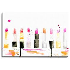 Bashian Home 'Lipstick' by Kelsey McNatt Painting Print on Canvas  - Great idea for hanging in the makeup/dressing area!  Fun!